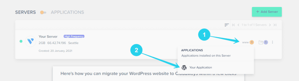 How to access your WordPress application in Cloudways