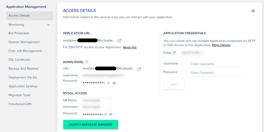 How to get access details to your WordPress website on Cloudways