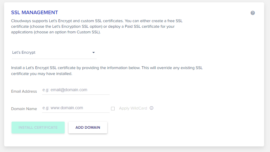 How to add free SSL certificate in Cloudways