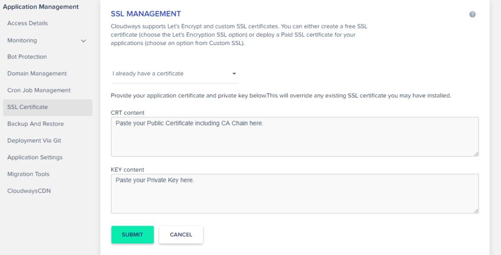 How to add custom SSL certificate in Cloudways
