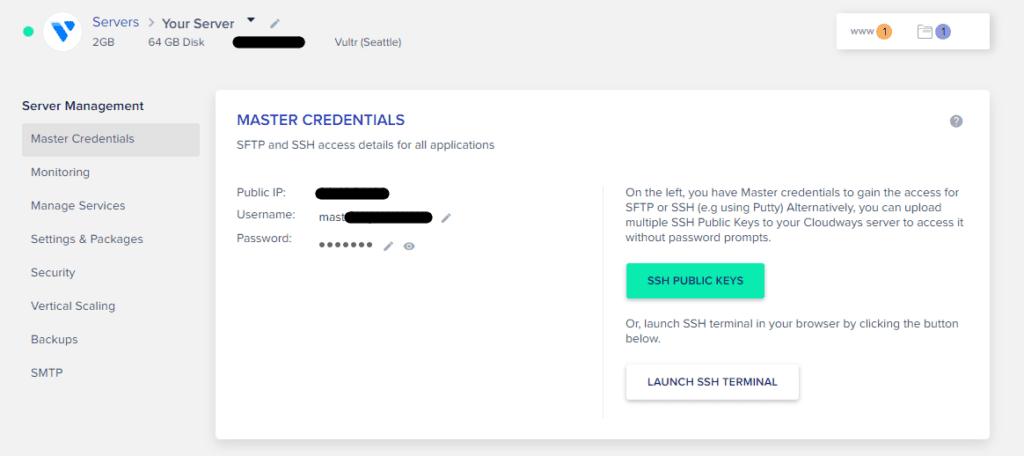 Cloudways server master credentials