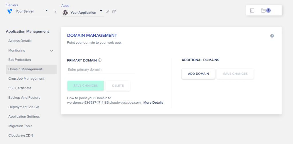 Domain management in Cloudways
