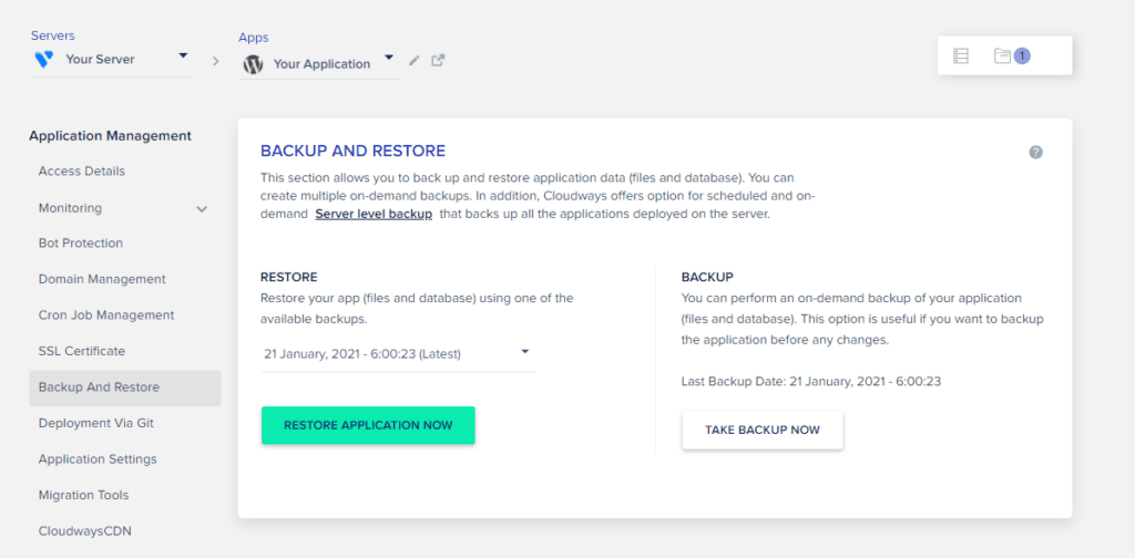 How to backup & restore your WordPress site in Cloudways