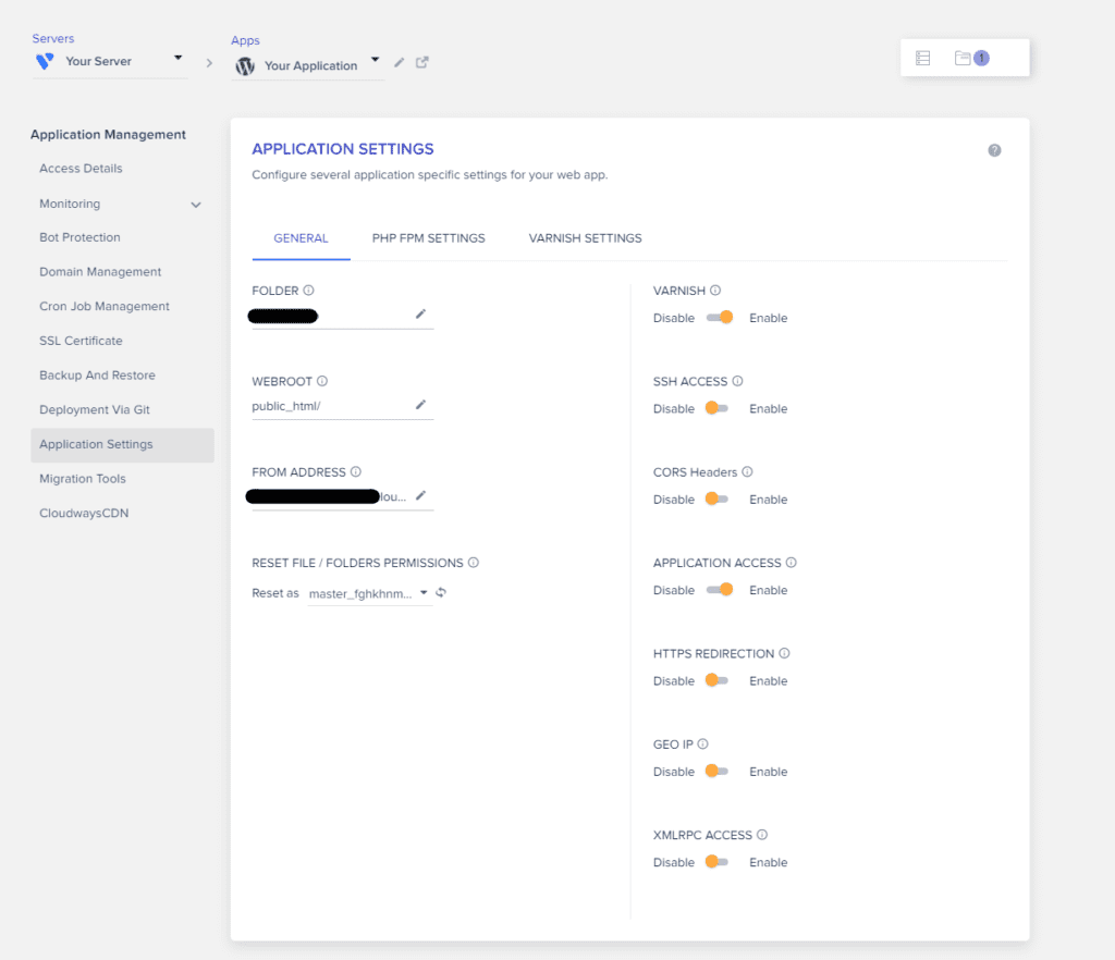 Application settings in Cloudways