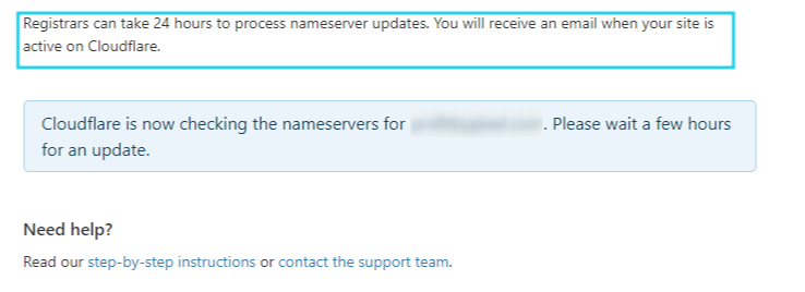Confirmation from Cloudflare