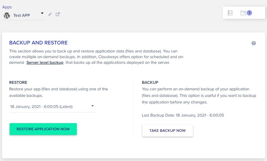 Cloudways automatic backups & 1-click restore