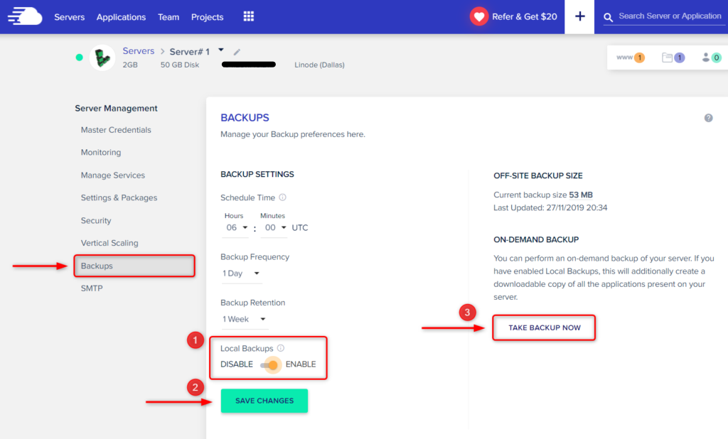 How to turn on backups in Cloudways