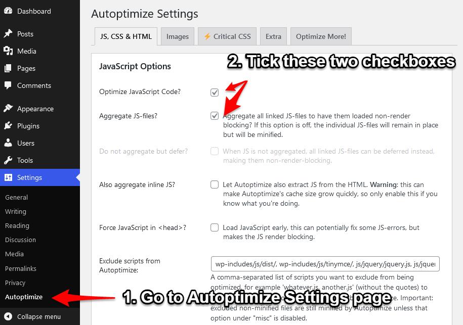 how to merge JavaScript files using Autoptimize