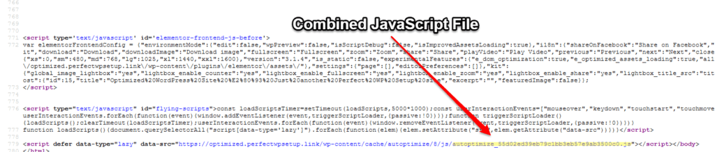 How to find combined JavaScript file