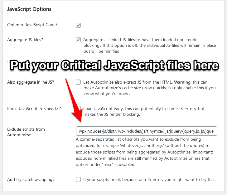 How to exclude critical JavaScript files from merging
