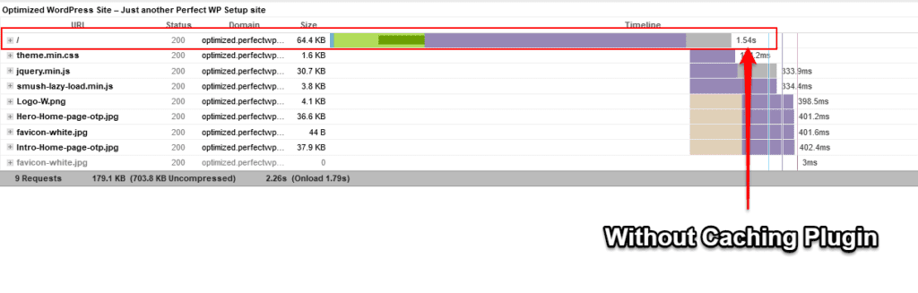 illustration of initial server response time without caching plugin