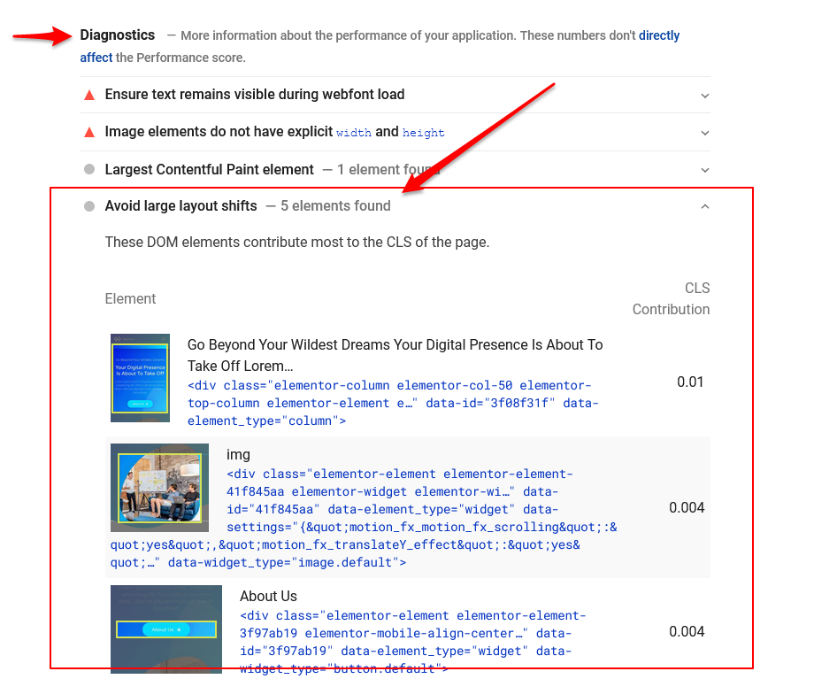 How to identify CLS in PageSpeed Insights