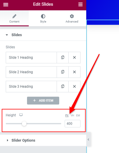 how to add fixed height in slider widget