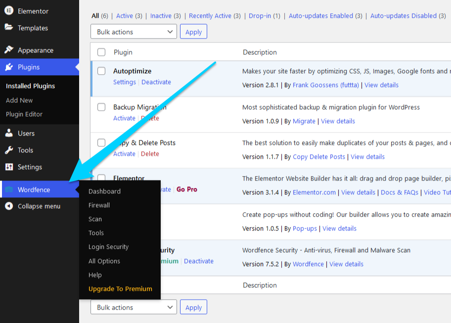 How to navigate to Wordfence settings page