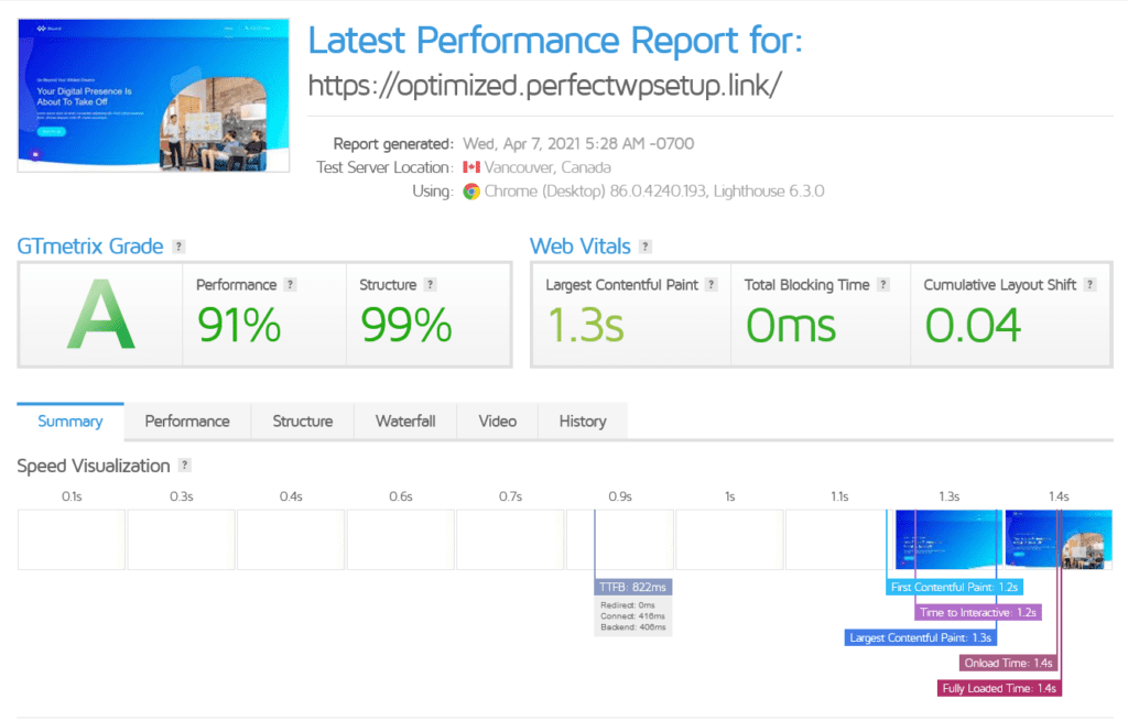 results page of GTmetrix
