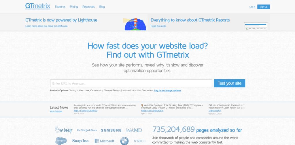 Home page of GTmetrix