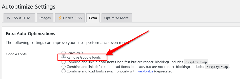 How to remove Google Fonts from WordPress using Autoptimize